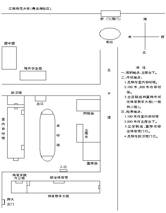 2019年江西高校体育类专业统考考场分布图
